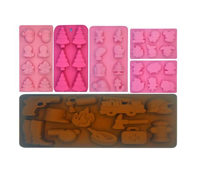 Wholesale Christmas Tree Bells Silicone Mold Handmade Chocolate Cake Sugar Cookies Biscuit Jelly Ice Mould