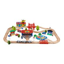 Customized kids play railway set DIY wooden train toys for children
