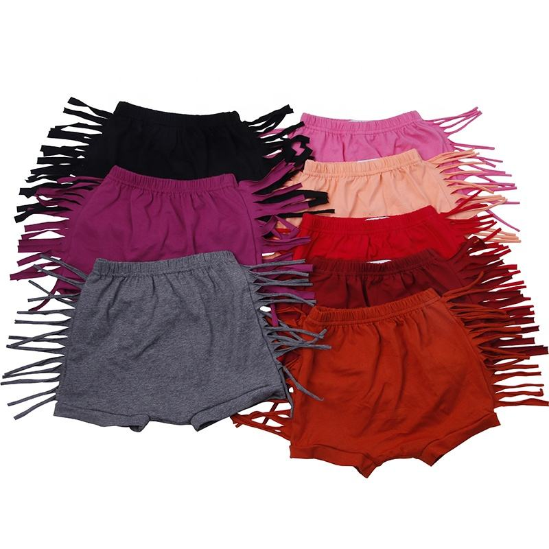 wholesale baby girl fringe shorts kids cotton ruffle tassel shorts boys and girls clothing