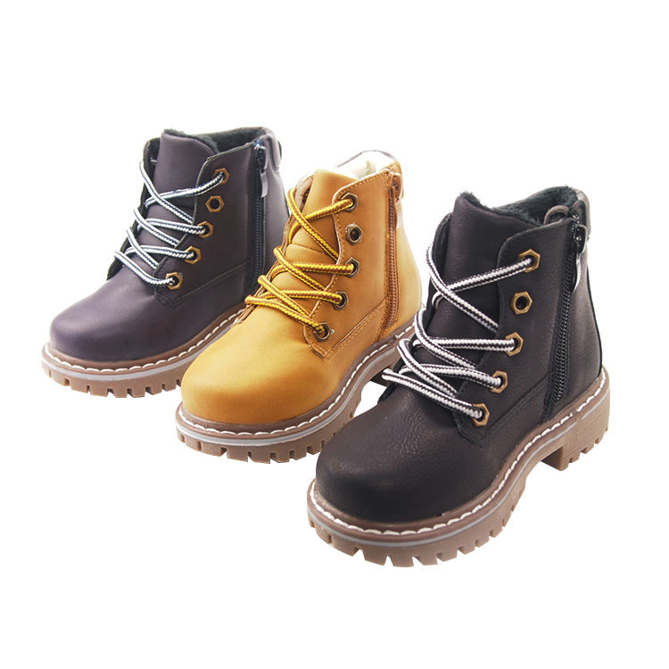 EU TAX FREE High quality fashion leather shoes winter warm boots kids winter boots for children