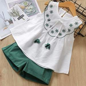 Children's sleeveless lotus leaf collar floral top with solid color shorts 2 piece children's clothing