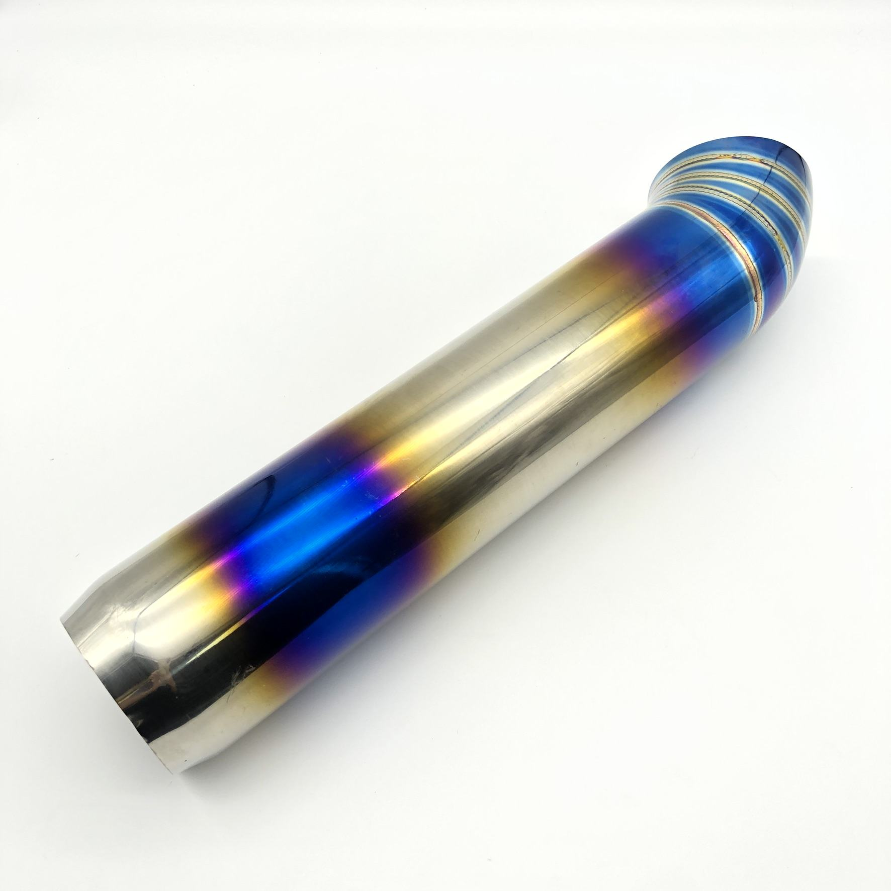 Universal Racing Titanium Blue Muffler Polished Blue Pipe 2.5inch Inlet
