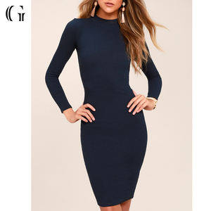 Commercio all'ingrosso Sexy Blu Navy Manica Lunga Aderente Midi Dress