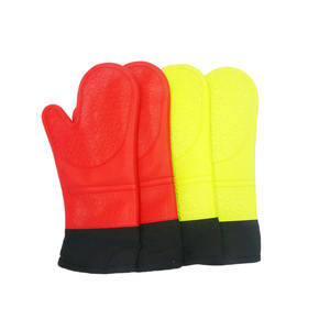 Extra-Long Heat Resistant Gloves Waterproof BBQ Kitchen Oven Mitts with Inner Cotton