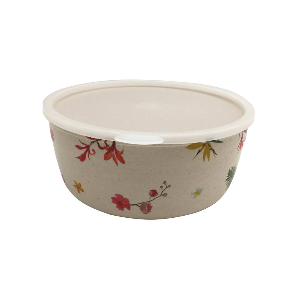 unbreakable OEM custom print bamboo fiber melamine food storage salad bowl with cover