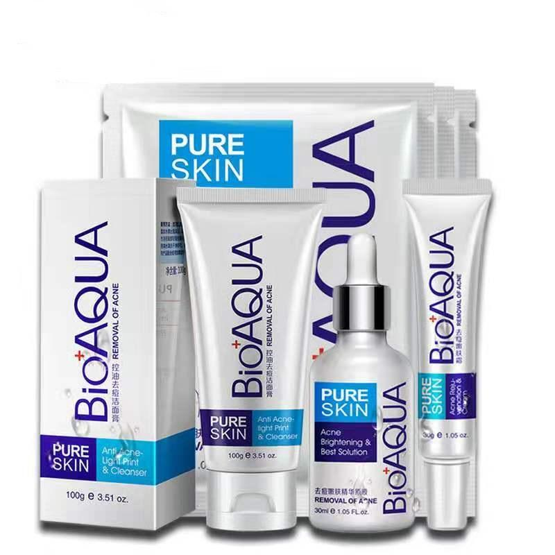 BIOAQUA Anti สิวรูขุมขน Whitening Treatment Blackhead รอยแผลเป็น Anti Acne Removal GEL SCAR Face Care ชุด