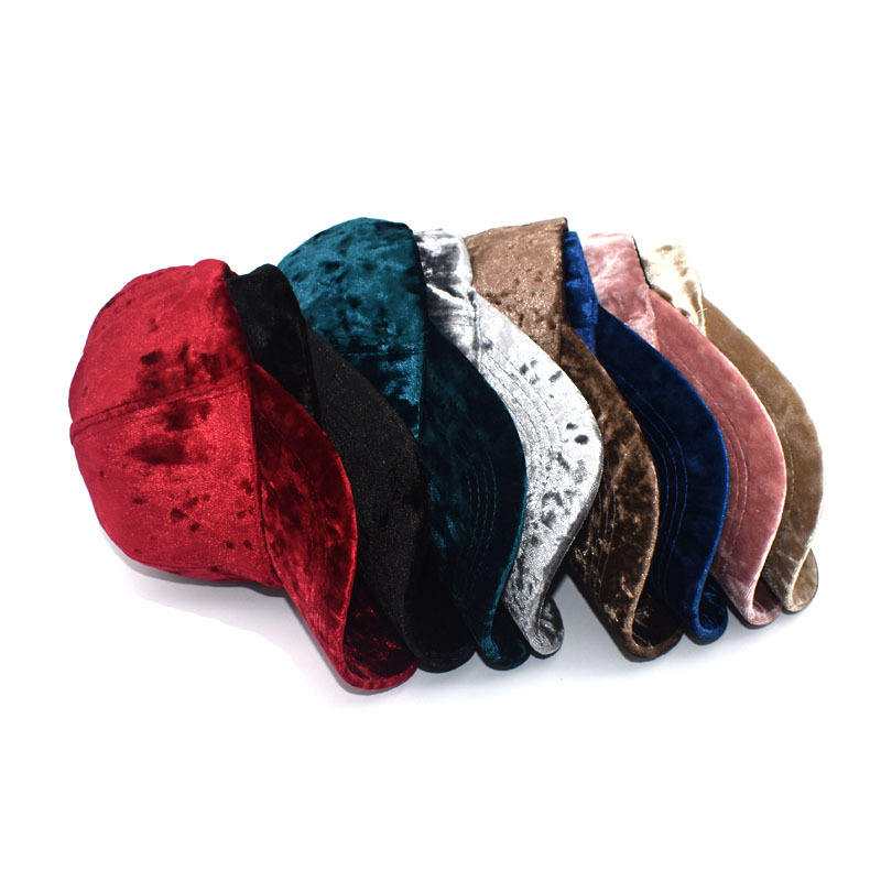 Gold velvet solid color autumn and winter fashion sports caps
