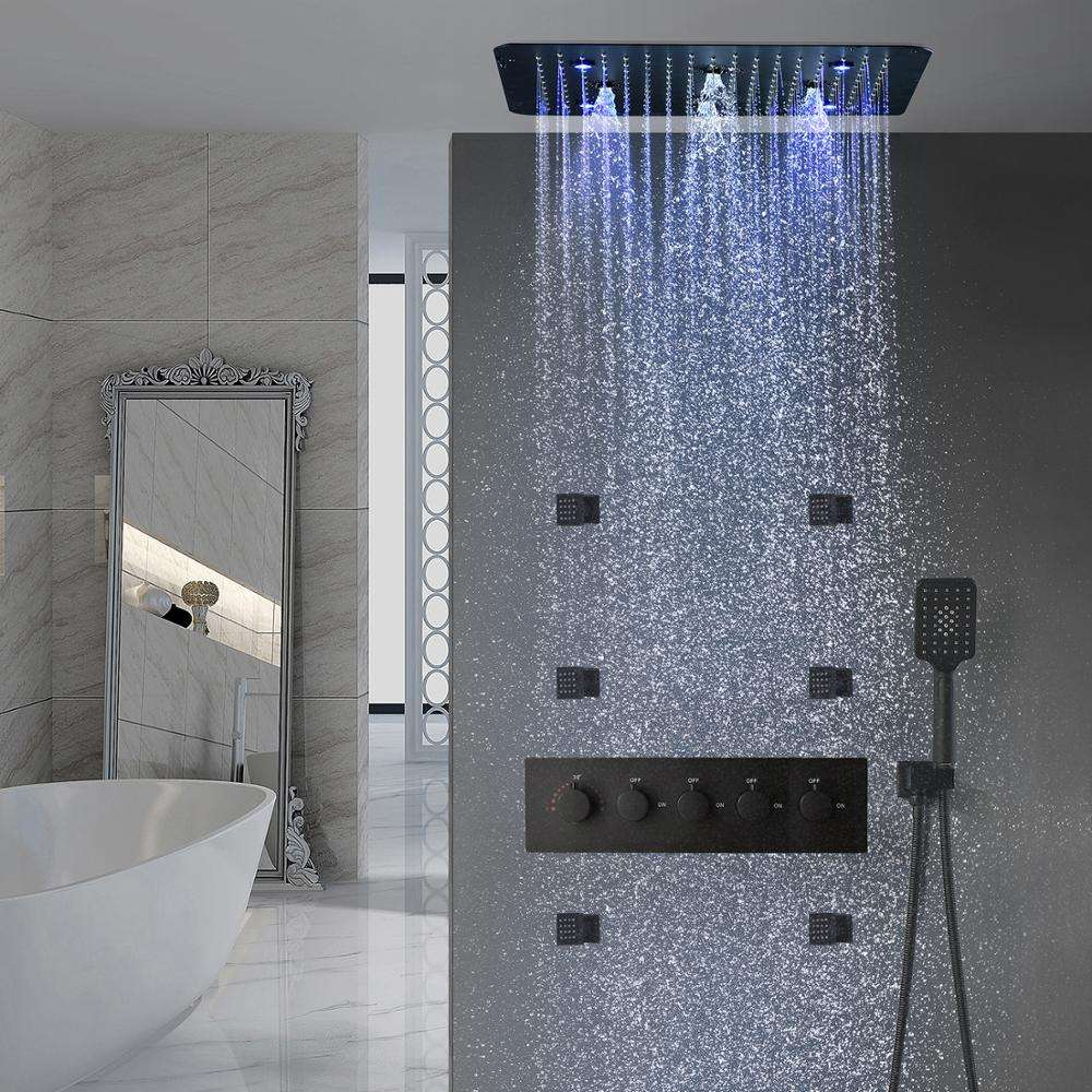 Bathroom Accessories Stainless Steel 304 Matt Black Shower Head Set Thermostatic Valve 20 Inch Bath Shower Faucet