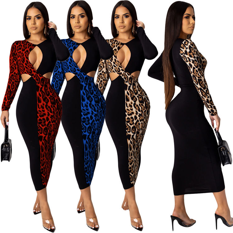 10581NA Grosir Sexy Leopard Patchwork Bodycon <span class=keywords><strong>Maxi</strong></span> Kasual <span class=keywords><strong>Wanita</strong></span> Gaun Pakaian Fashion