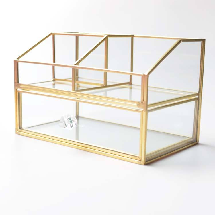 Wholesale black Gold 8 colors Transparent glass display case make up organizer for lipstick