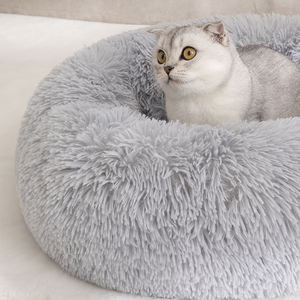 Donut fur pet bed fluffy cat dog sleep petbed delux sofa calming round pet bed