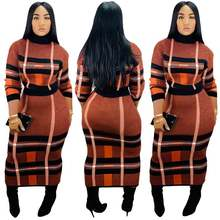 Latest design high collar plaid printed long skirt women fall two piece outfits sets for women