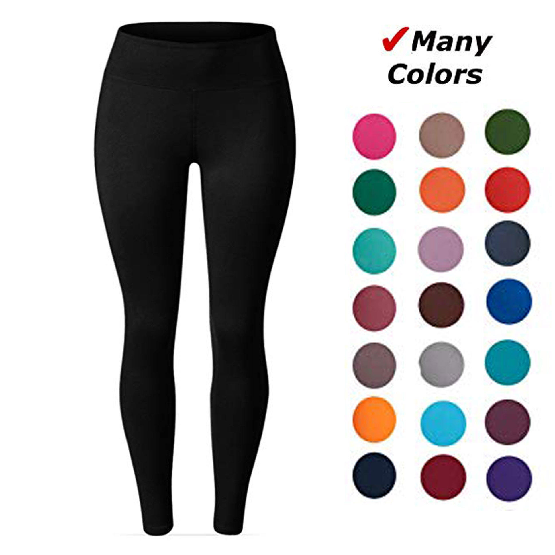 92% polyester 8% spandex yoga waist band buttery soft double brushed yiwu black solid color leggings for women