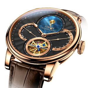 Lobinni skeleton mechanical watch luxury brand wristwatches automatic mechanical watch wrist for men