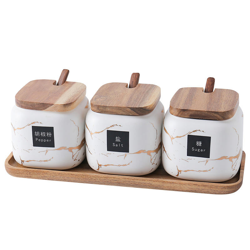 Hot Sell Marble Design Fancy Ceramic Spice Jar With Spoon And Wood Tray