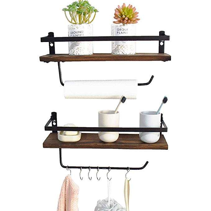 supermarket rustic wrought iron bathroom wall shelves with best price