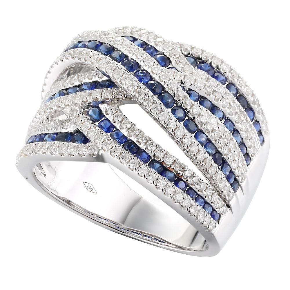 High Quality Exquisite Trendy Daily 18K White Gold Sapphire Diamond Ring