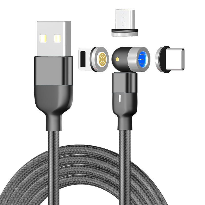 Magnetic Charging Cable Nylon Braided 3A Fast Charging Cable LED Light Universal 3 in 1 Magnet Phone Charger Cable