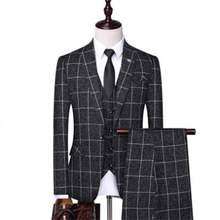 Wholesale Price Pant Coat Latest Design Slim Fit Tweed Check Suits Men coat suite