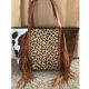 sunflower cowhide colored fringe tassel leather female tote purse with rivet decoration