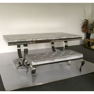 A8026 Daining table set grey marble dining room furniture
