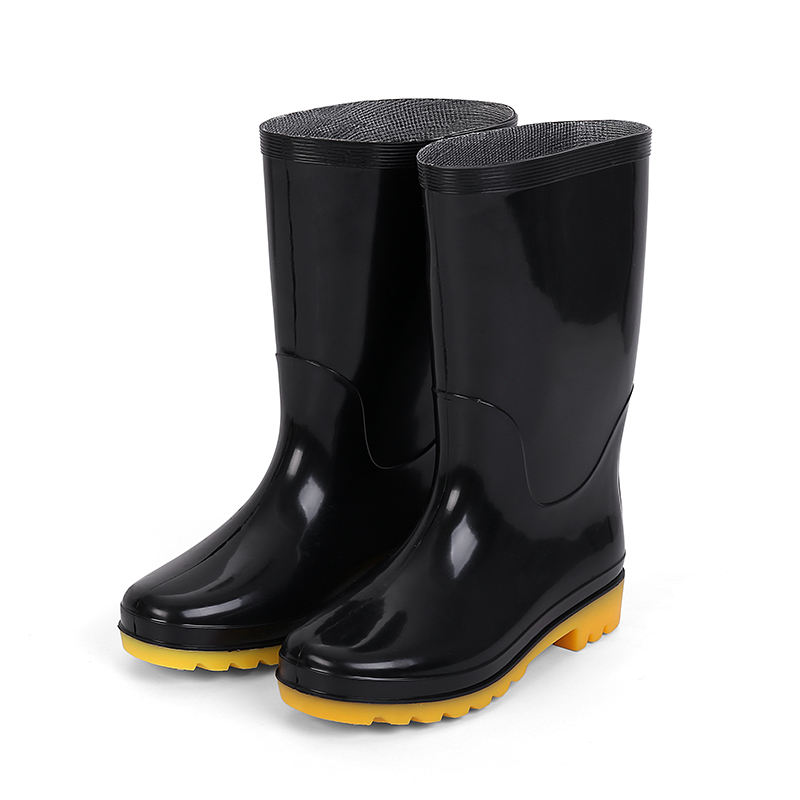 Low Price Pvc Customized Work Safety Mens Rubber Middle Waterproof Rain Boots