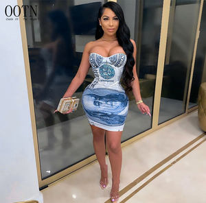 OOTN Fashion Party Off The Shoulder Dress Women Sleeveless Backless Dollar Print Lift Hips Low Cut Ball Gown Sexy Dress