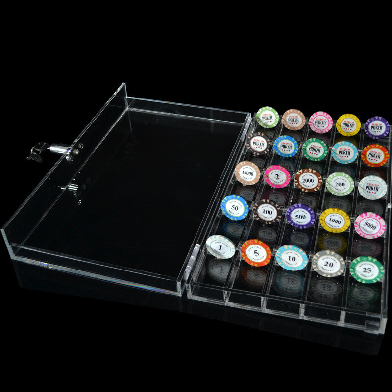 Texas Poker Accessories High Quality 600PCS Casino Acrylic Transparent Poker Chips Game Tray/Box/Case With Cover/Lock