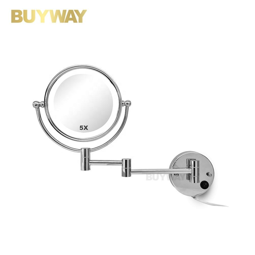 Hotel LED Swivel Swing Arm wall mounted lighted vanity cosmetic make up illuminated bathroom mirrors with light
