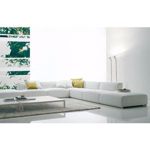 Modern Fabric Metal Base Couch L Shaped Living Room Sofa