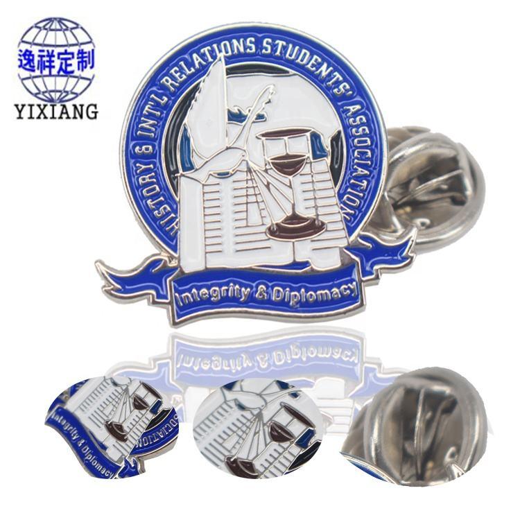 Hot Sale blue Silver Iron Plating Collar custom metal lapel pin diy