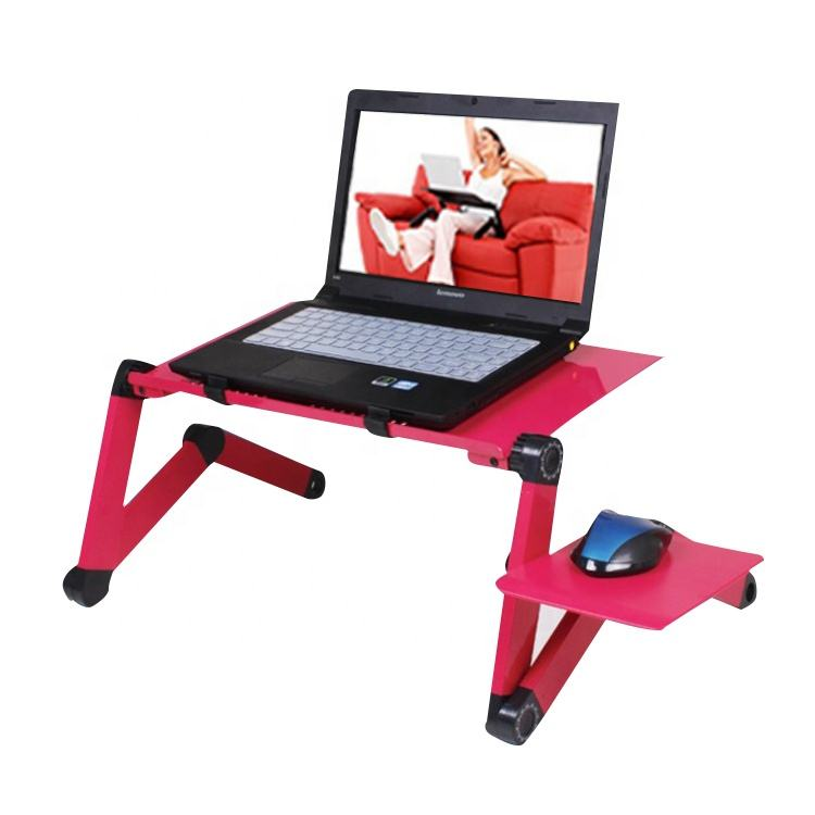 Portable Adjustable folding Arm Aluminum Laptop Desk With Cooling Fan and Mouse Pad Stand Table for bed sofa