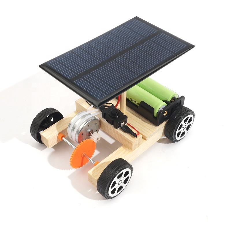 Children science experiment education diy assemble solar power panel wooden car toy