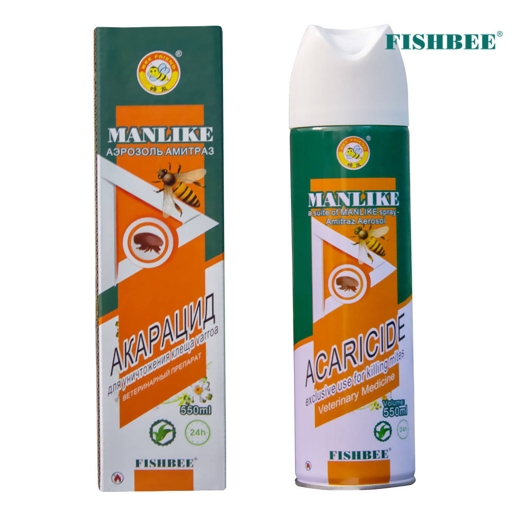 Amitraz Aerosol Acaricide Varroa Mite Control MANLIKE Fishbee Bee Medicine 550ml Efficiently With Plant Essential Oil Aerosol
