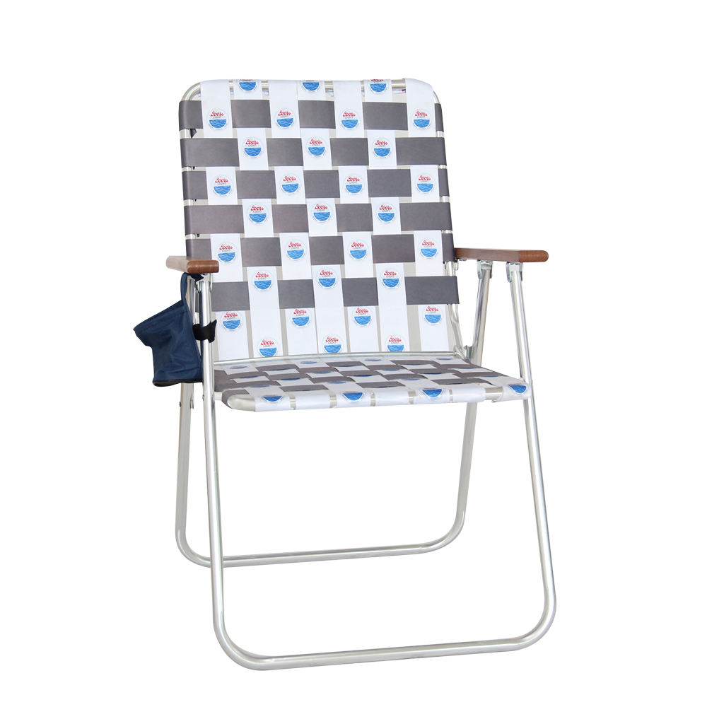 Sailing Leisure Webbed Portable Deck Chair Wooden Armrest Lightweight Folding Aluminum Outdoor Lawn Chair Beach Chair