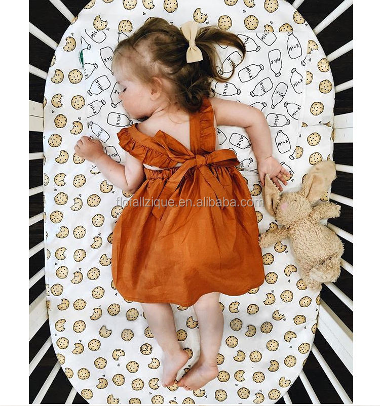 RTS Cotton Hot In INS Dresses with Ruffle Tie Back Bow Baby Girl Brown Dress