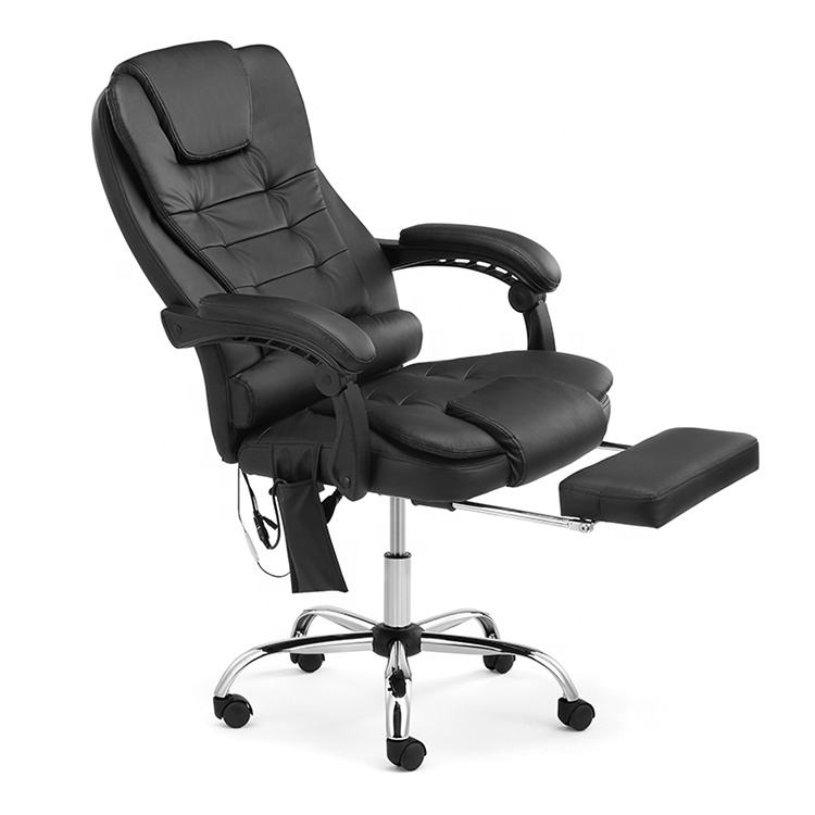 High Back With Cushioned Lumbar Support And Heating Function Black Adjustable Office Gaming Swivel Chair