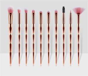 Amazon Menjual Panas Pelangi Berlian Menangani 10 Pcs Blending Eyeshadow Makeup Brushes Mata Kosmetik Makeup Brush Set