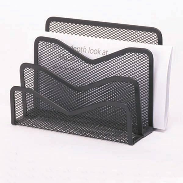 Desk Mail Organize File Holder Letter Sorter with 3 Vertical Upright Metal Mesh Compartments