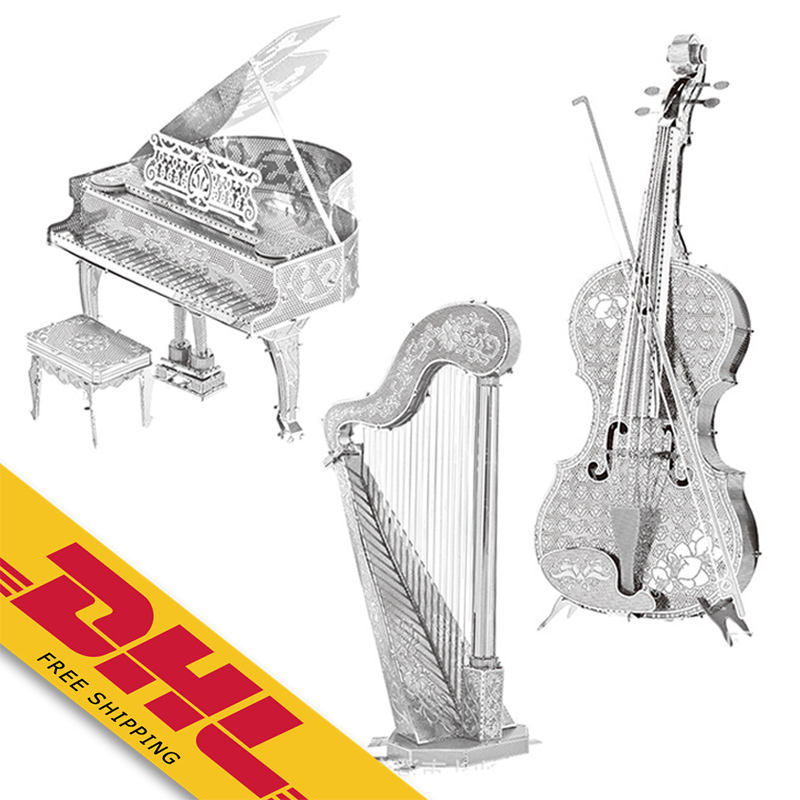 3D Metal Puzzle of Assembled Violin Harp Piano Model Jigsaws DIY Famous Construction 3D Models for Kids Toys Gifts