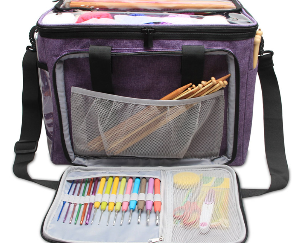 Amazon hotsale Large Space Wool Yarn Storage Knitting Crochet storage Bag Tote Organizer Cylinder bag storage bag