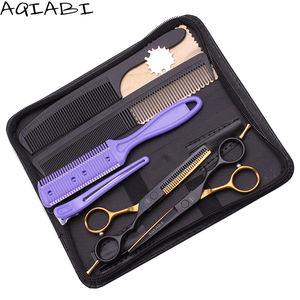 Scissors Hair 5.5'' AQIABI 440C Barber Hair Cutting Scissors Thinning Shears Hairdresser Scissors Set Add Bag A1029