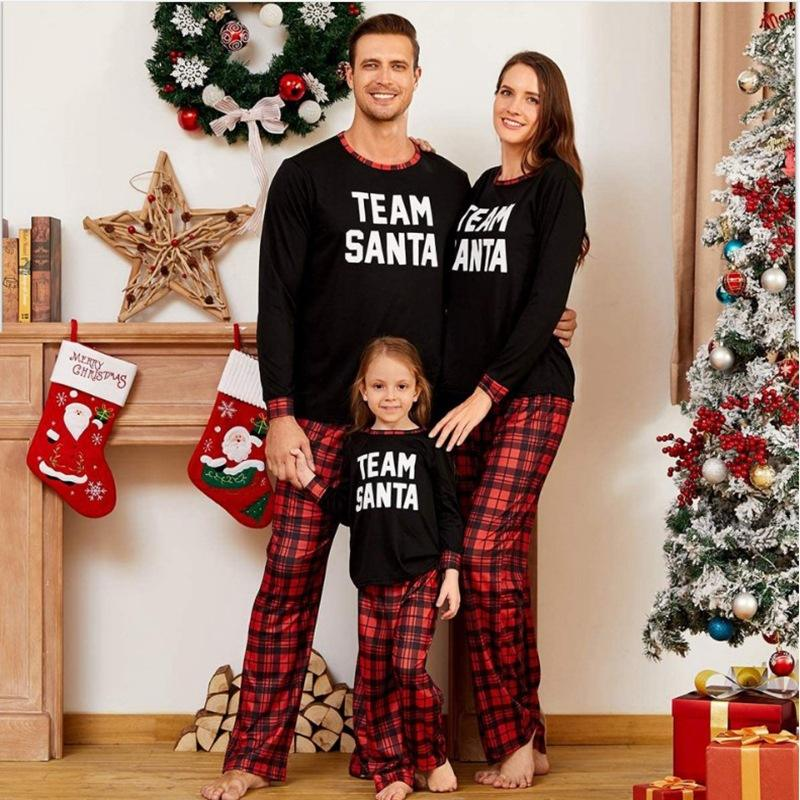 match 2020 kid sleepwear cotton toddler childern girl plus size thai bangkok buffalo plaid family christmas woman pyjama set