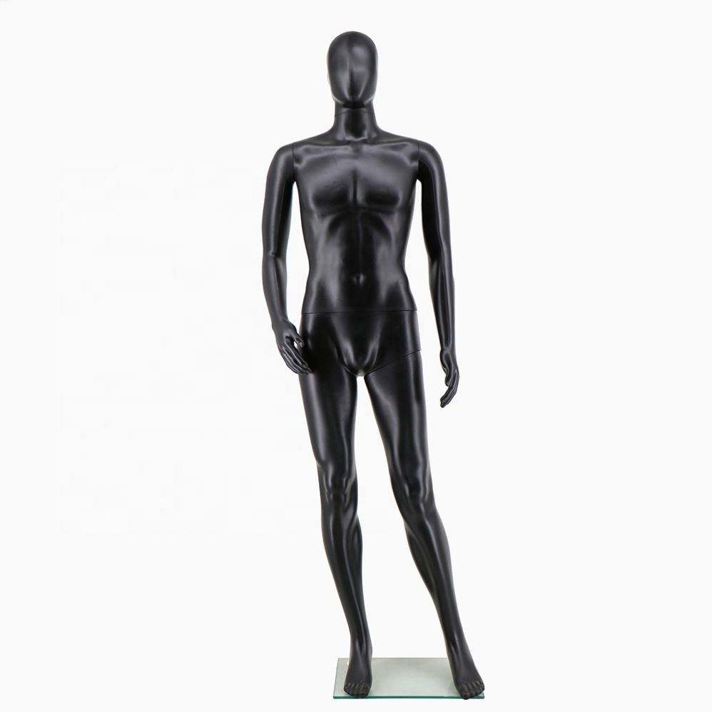 Good Quality Full Body Mannequin Plastic Standing Black Male Model Men's Clothing Model Display Stand