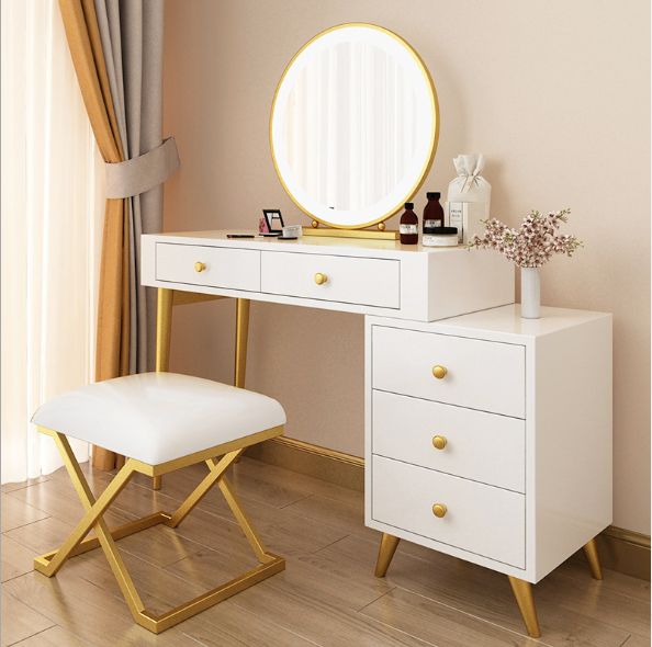 Modern luxury makeup Table with mirror and stool Make up dressing table with lights Stainless steel frame table with drawer