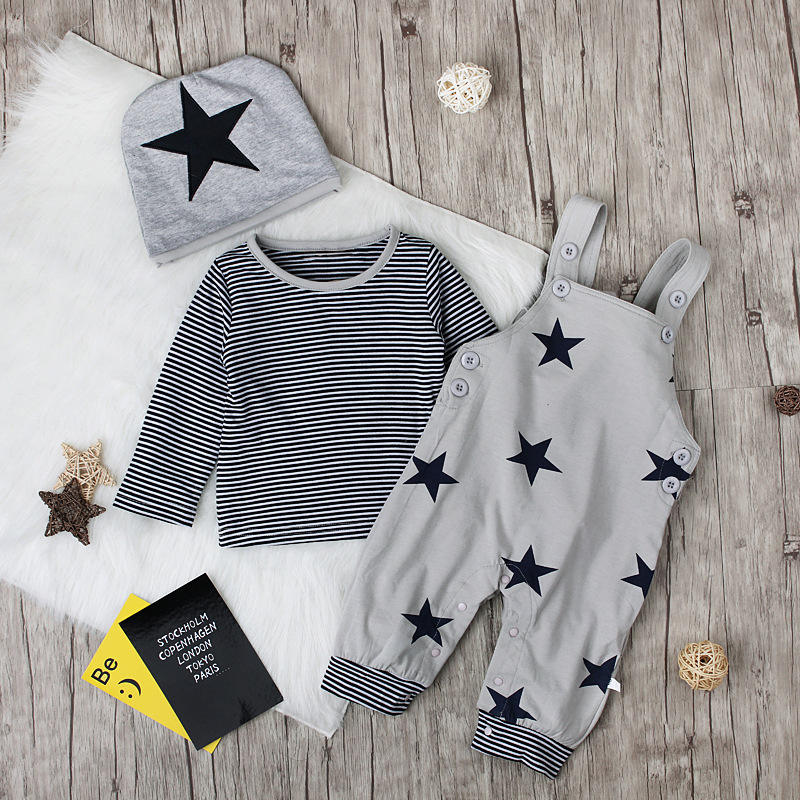 Autumn suits star straps trousers long sleeved T-shirt and hat 3 piece set for baby kids boys girls clothes