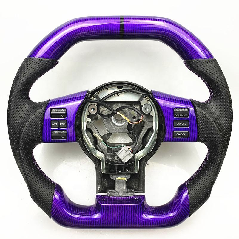 PURPLE 350z WHEELS CARBON FIBER STEERING WHEEL FOR NISSAN 350Z WITH BLACK STRIPE STITCHING STEERING WHEEL CUSTOMIZED