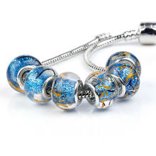 Blue Powder Glass Beads Round DIY Big Hole European Beads For Charms Bracelet jewelry making