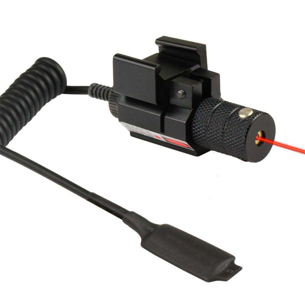 Tactical mira pistol Red dot laser sight With 21mm Rail Mount and Tail Line Switch.