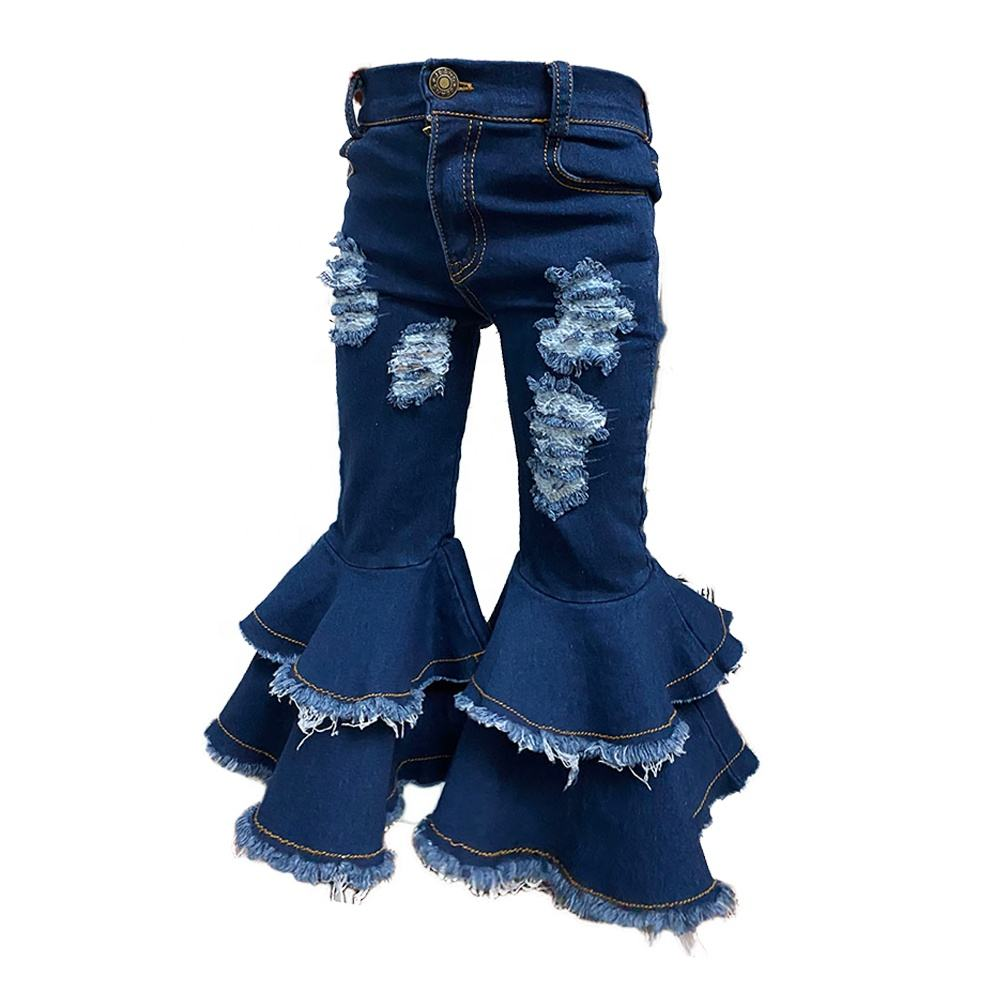 Free shipping Kids Baby Denim Distressed Plus Size Flared Jeans Double Bell Bottoms